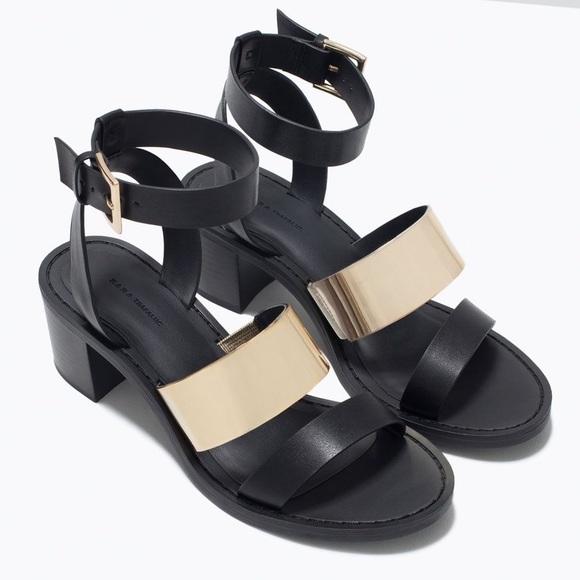 Zara Black Mirror Sandals Size 7.5
